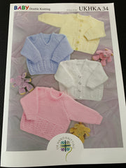 Baby Double Knit Jumpers and Cardigans Knitting Pattern UKHKA34