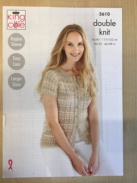 King Cole Island Beaches D/K Short Sleeve Cardigan Knitting Pattern 5610