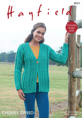 Hayfield Chunky Tweed Ladies V Neck Cardigan Knitting Pattern 8024