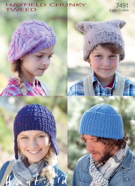 Hayfield Chunky Tweed Family Hats Knitting Pattern 7491