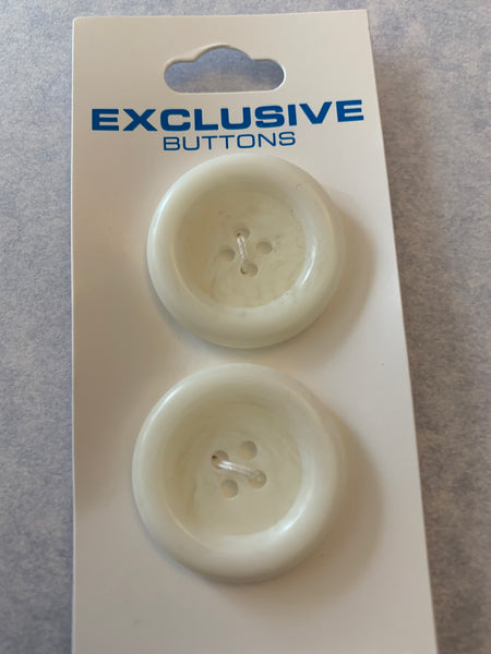 2 x 27mm White Four Hole Deep Rim Buttons (027)