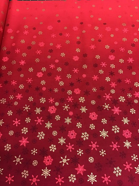 Makower Red Ombré Snowflake Fabric