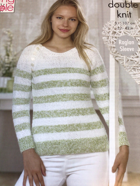 King Cole Calypso Double Knit Ladies Scoop Neck Sweaters Pattern 5040