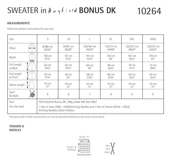 Hayfield Bonus D/K Ladies Sweater Knitting Pattern 10264