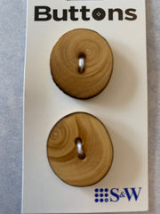 2 x 25mm Natural Wood Oval 2 Hole Buttons (198)