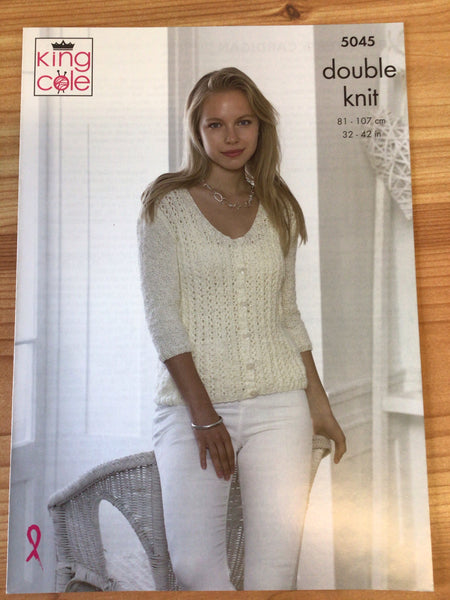 King Cole Calypso Double Knit Ladies Round Neck Cardigan & Sweater Pattern 5045