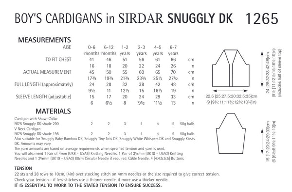 Sirdar Snuggly Double Knit Boys Cable Cardigan Knitting Pattern 1265