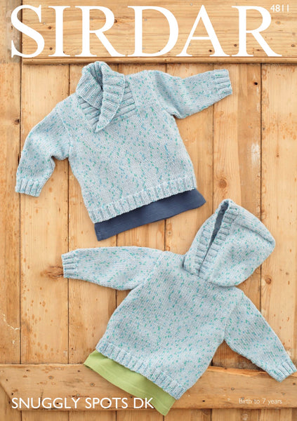 Sirdar Snuggly Spots D/K Sweater and Hoodie Knitting Pattern 4811
