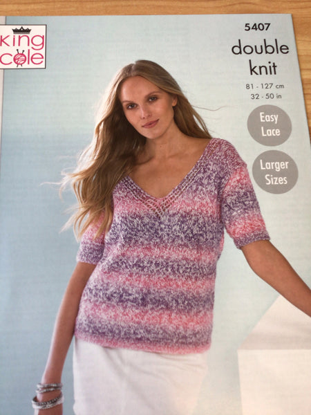 King Cole Calypso Double Knit Ladies Summer Top Knitting Pattern 5407
