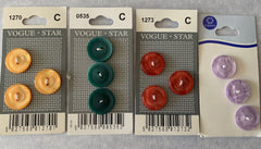 4 Cards of Bright Colour 18mm 2 Hole Buttons (003)