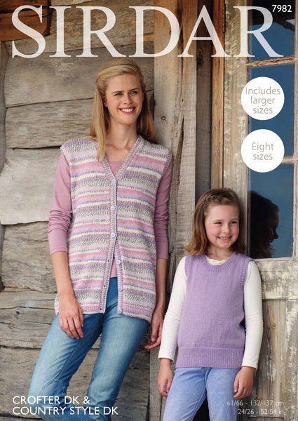 Sirdar Country Style D/K Ladies Waistcoat & Tank Top Knitting Pattern 7982