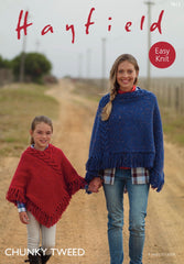 Hayfield Chunky Tweed Cable Poncho Knitting Pattern 7812