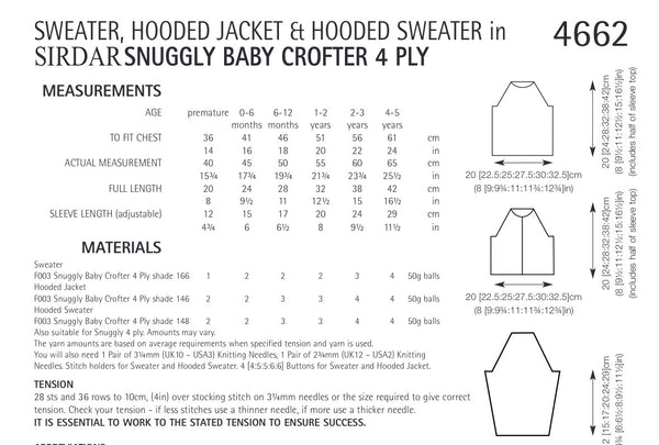 Sirdar Snuggly Crofter 4ply Hooded Jacket and Sweaters Knitting Pattern 4662