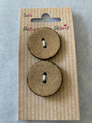 2 x 22mm Natural Wood Flat 2 Hole Buttons a