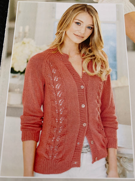 Stylecraft Linen Drape D/K Lacy Sweater & Cardigan Knitting Pattern 9510