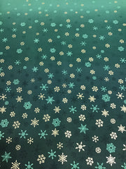 Makower Green Ombré Fabric with Snowflakes