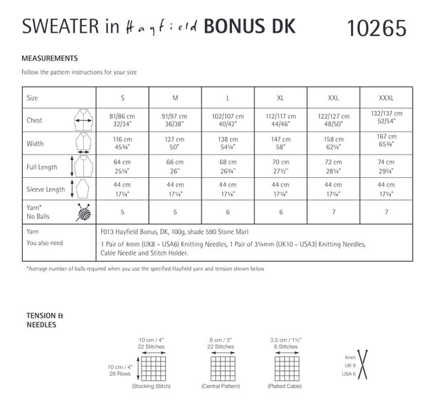 Hayfield Bonus D/K Ladies Round Neck Cable Sweater Knitting Pattern 10265