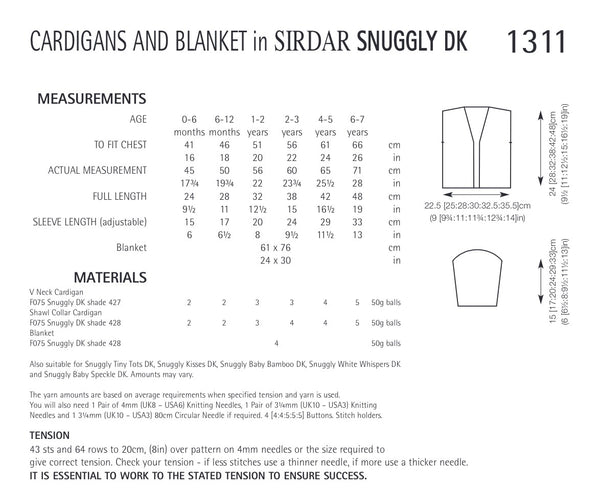 Sirdar Snuggly Double Knit Cardigan and Blanket Knitting Pattern 1311