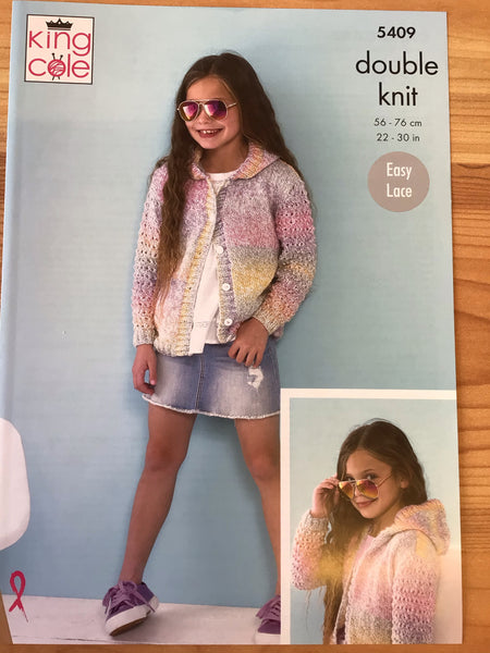 King Cole Calypso Double Knit Girls Cardigan & Hoodie Knitting Pattern 5409