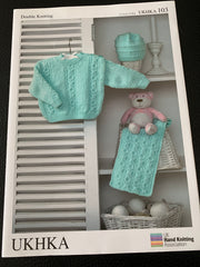 Baby Double Knitting Cable Sweater, Hat & Scarf Knitting Pattern UKHKA103