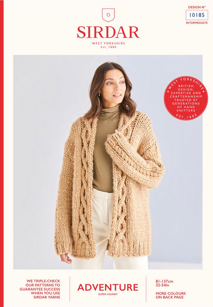 Sirdar Adventure Super Chunky Cable Edge to Edge Jacket Knitting Pattern 10185