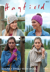Hayfield Chunky Tweed Ladies Accessories Knitting Pattern 8023
