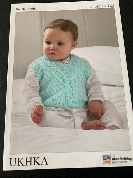 Baby Double Knitting Cable Tank Tops And Cardigan Knitting Pattern UKHKA122