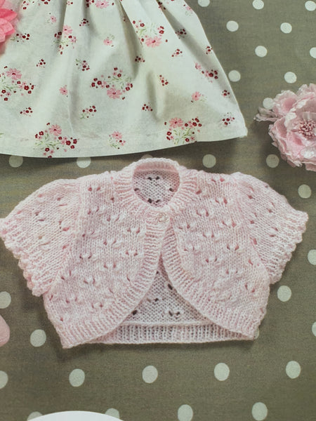 Baby Double Knit Lacy Bolero Knitting Pattern UKHKA55