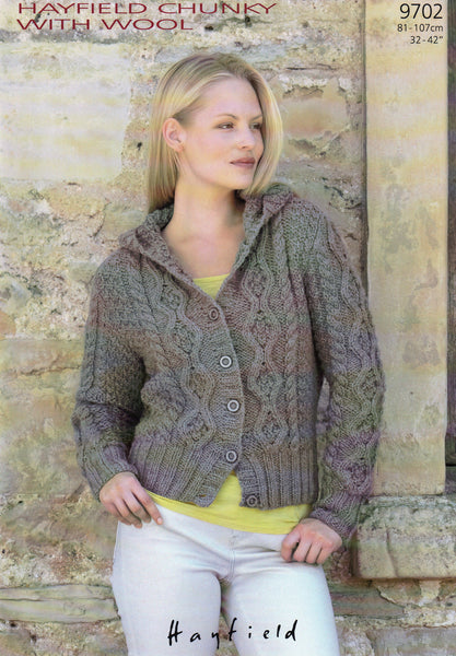 Hayfield chunky with wool pattern 9702