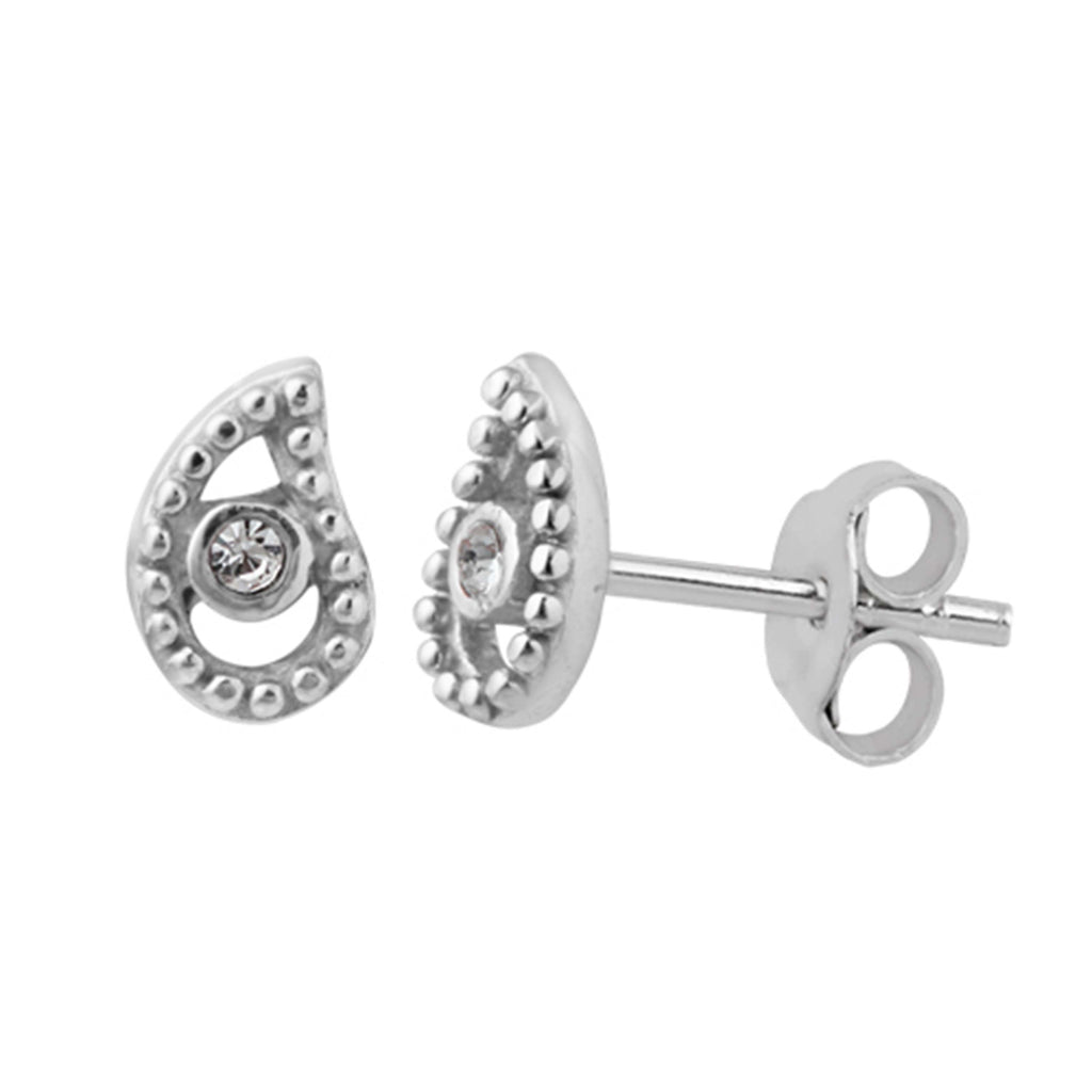 Paisley Stud Earrings - Silver