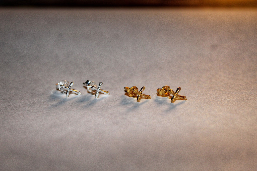 Cross Stud Earrings - Silver