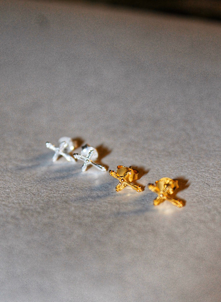 Cross Stud Earrings - Gold