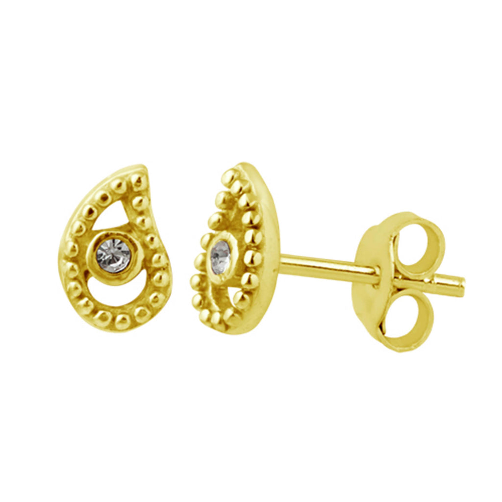 Paisley Stud Earrings - Gold