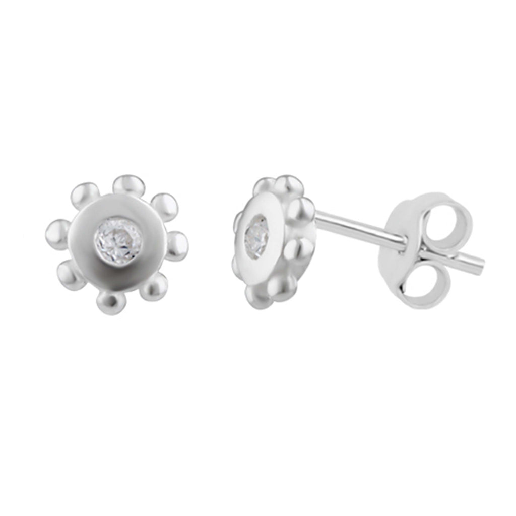 Sun Stud Earrings - Silver