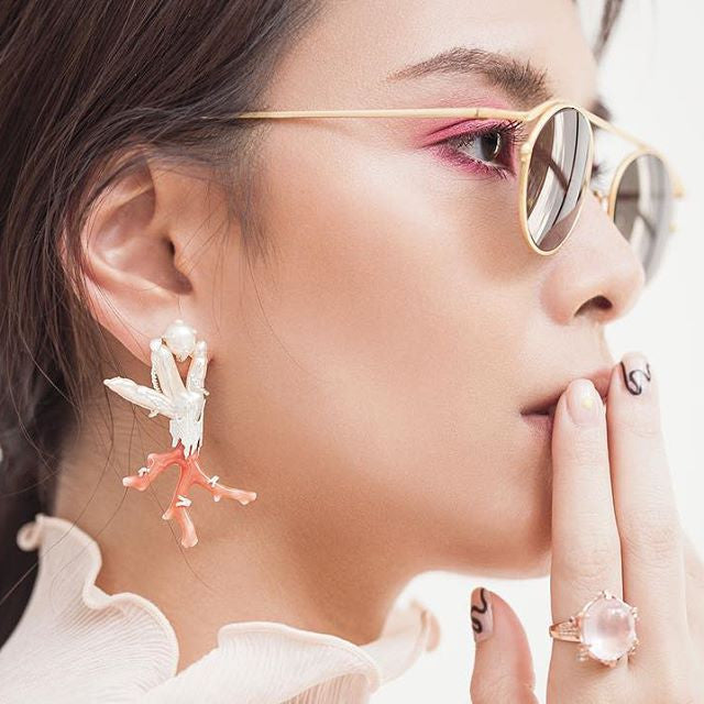 Ing Yolwaree - SS17 Coral Earrings by YOLWAREE