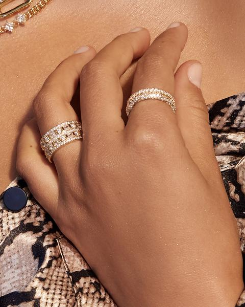 Pave Triple Band Ring - Gold