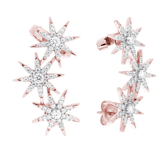 Starburst Cuff Earrings - Pinkgold