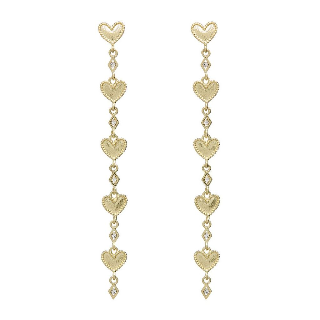 DOTTED HEART DROP STUDS – GOLD