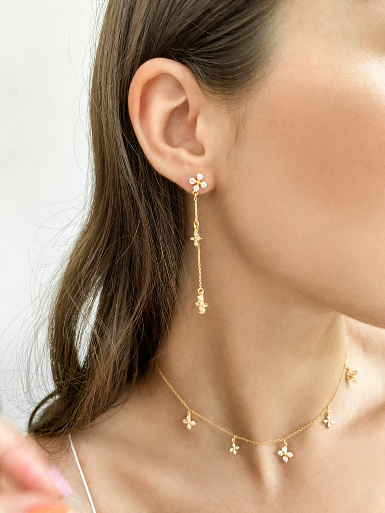 Aries Long Earrings - Gold