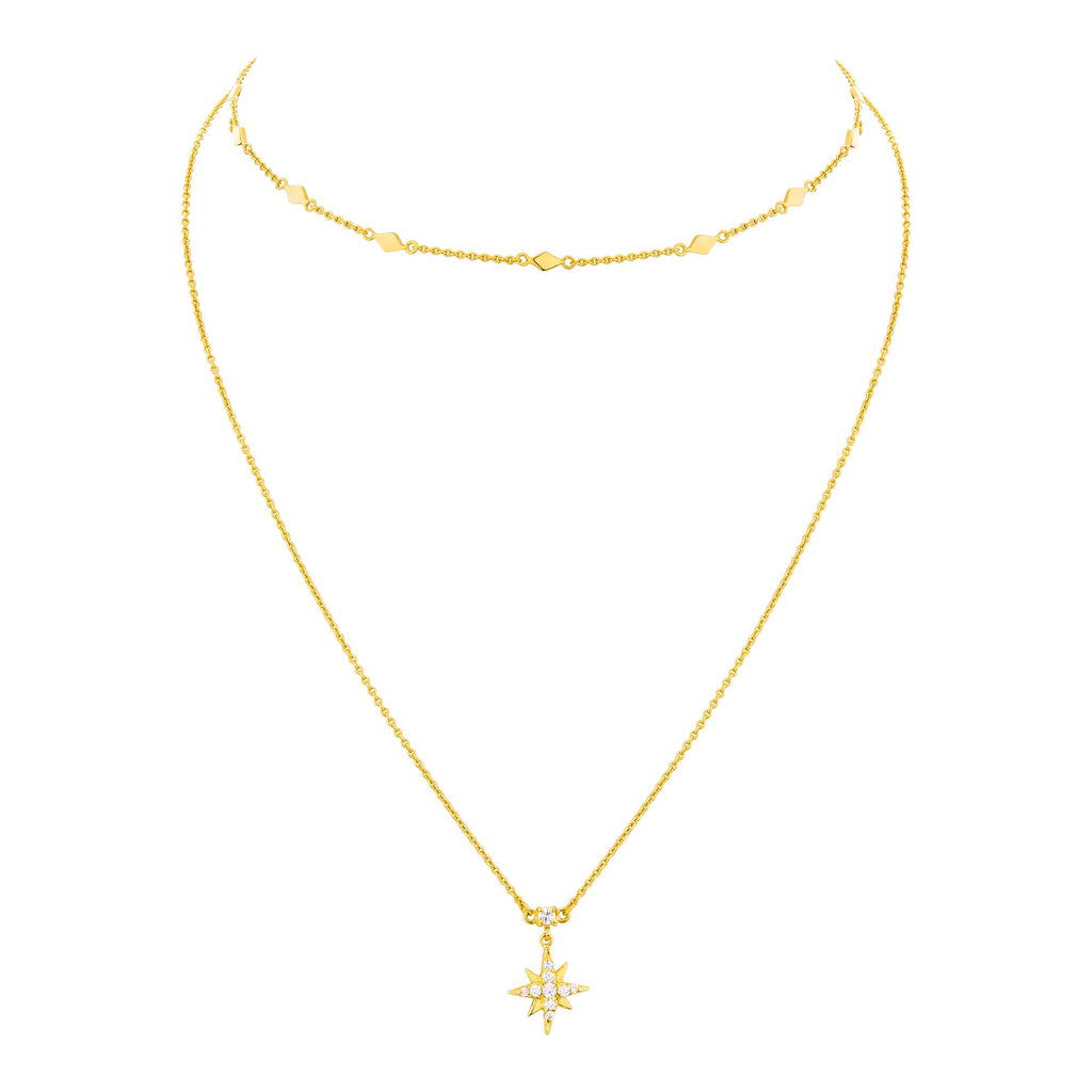 Metal IN Celestial Mini Hoop & Double Necklace - Gold