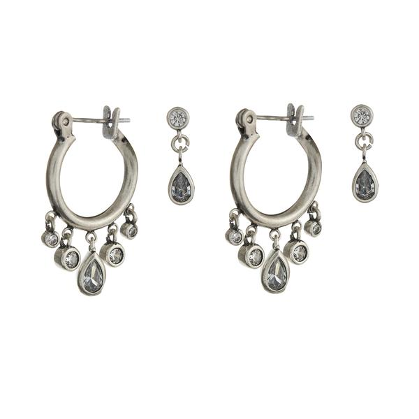 COSMIC TEARDROP MINI HOOPS SET - SILVER