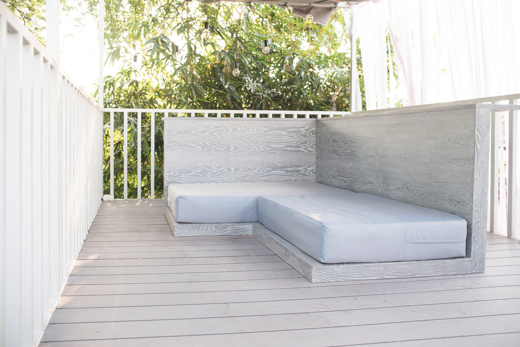 Grey Outdoor Wood Sofa
