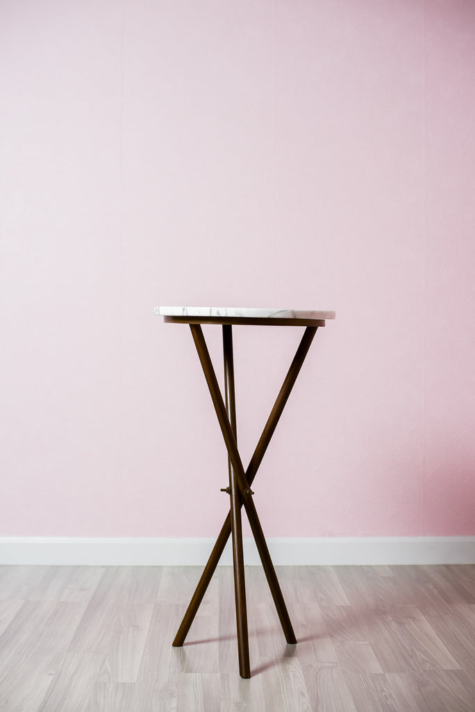 White Arabescato Teak Wood Table - 45cm