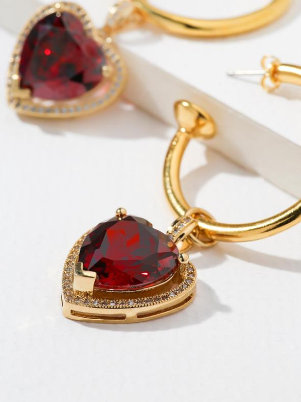 Pang Mitchai IN THE RUBY HEART HOOP EARRINGS - GOLD