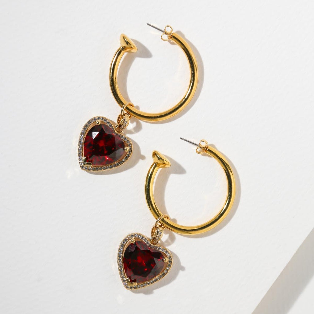 THE RUBY HEART HOOP EARRINGS - GOLD