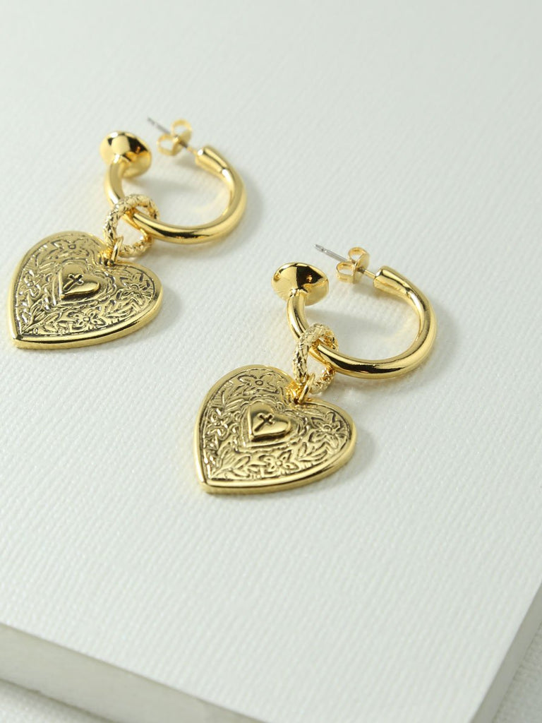 The Angelica Heart Hoop Earrings - Gold