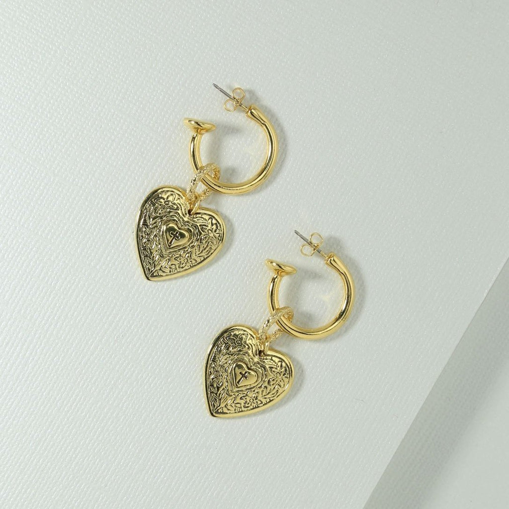 Praew Jaratpim IN Angelica Heart Hoop Earrings - Gold