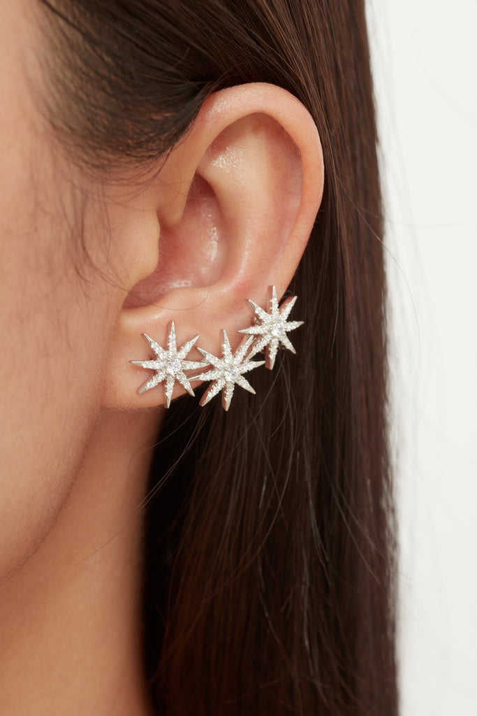 Starburst Cuff Earrings - Silver