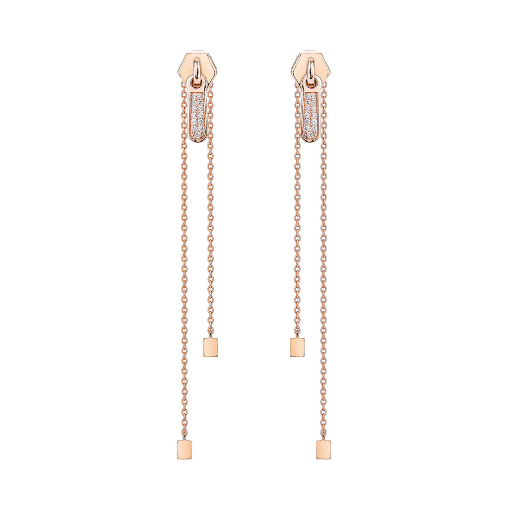 Prang Kannarun IN Zip Long Earrings - Pinkgold