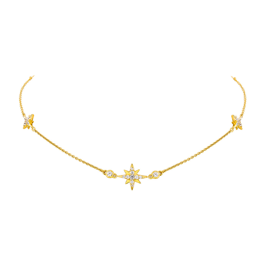 Pepe Varithorn in Celestial Studs & Chain Necklace - Gold